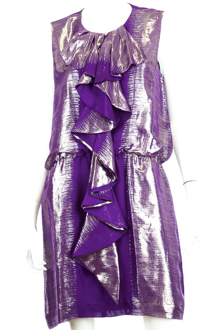 Trina Turk Silk Metallic Purple Ruffle Dress, Size 12