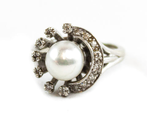 Vintage 14K White Gold Silver Overlay Pearl Diamond Ring