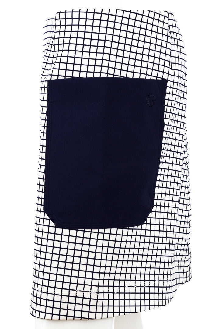 Tory Burch Navy White Graph Print Pocket Skirt , Size M-NWT