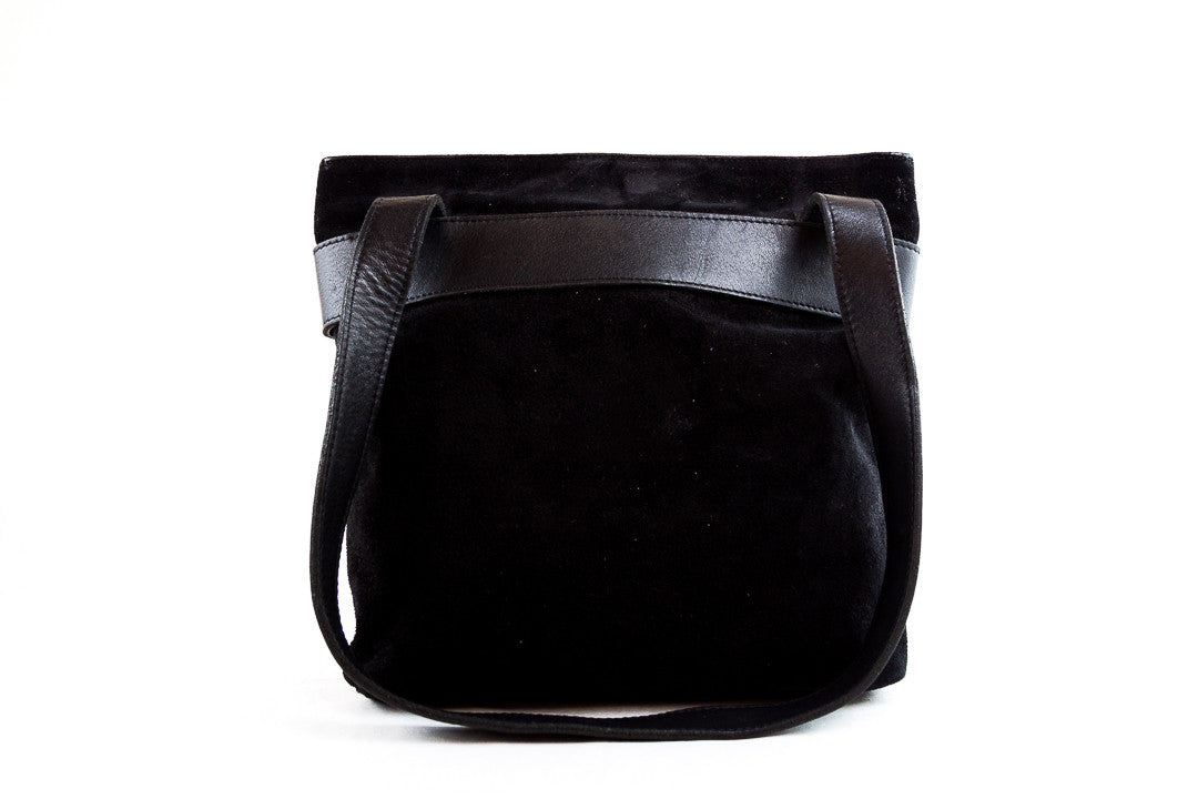 Robert Clergie Black Suede Patent Tassel Shoulder Bag
