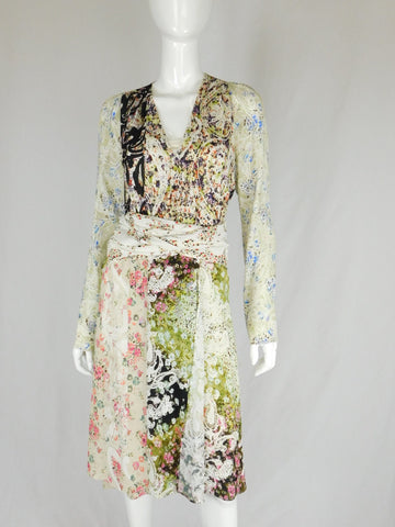 Etro Silk Multicolor Floral Belted Kimono Dress, Size 42