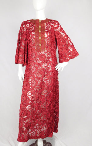 70's Vintage Beaded Crimson Lace Mesh Full Length Dress, Size 12