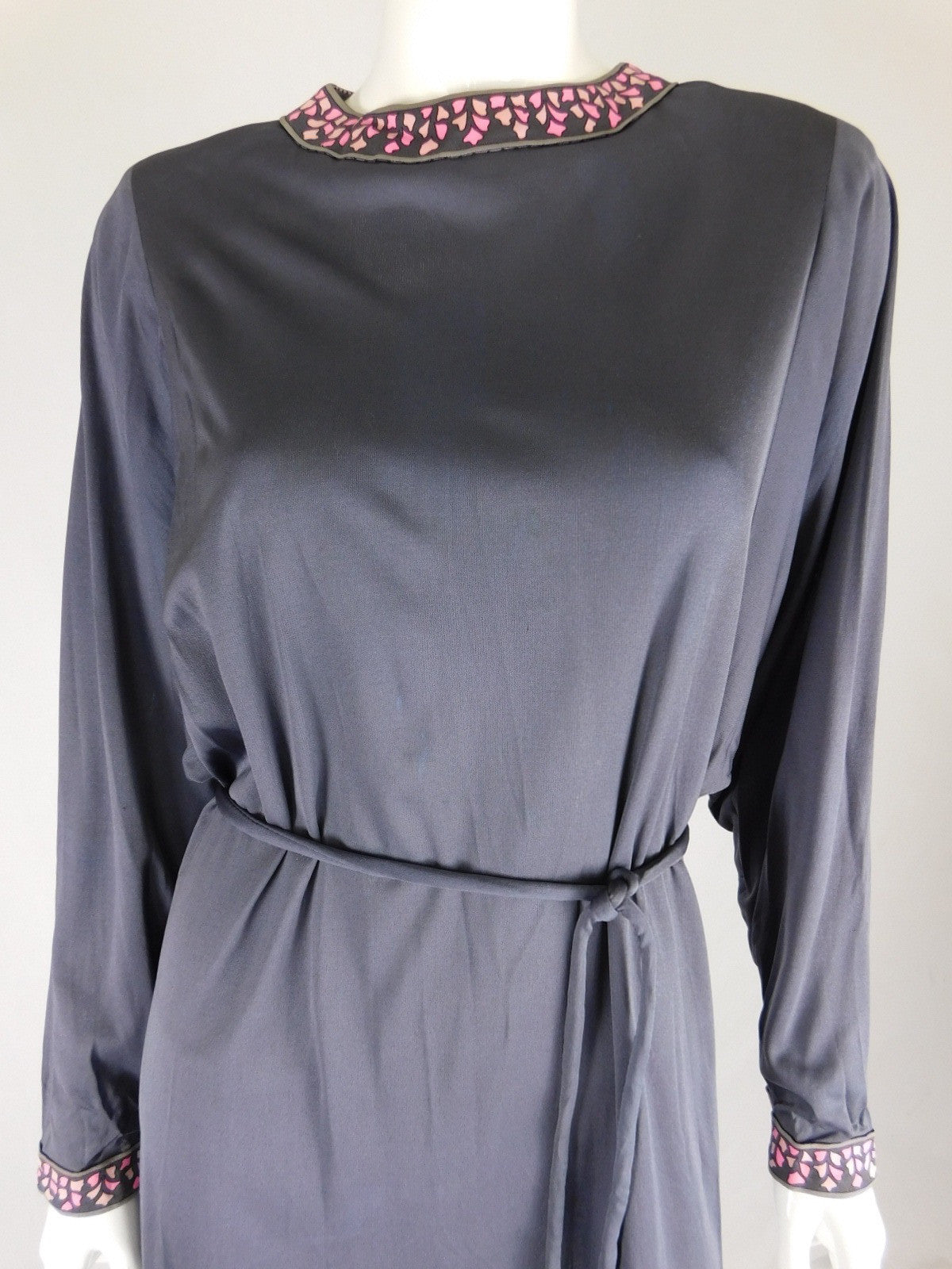 Averardo Bessi 60s Silk Grey Floral Trim Belted Dress, Size 10