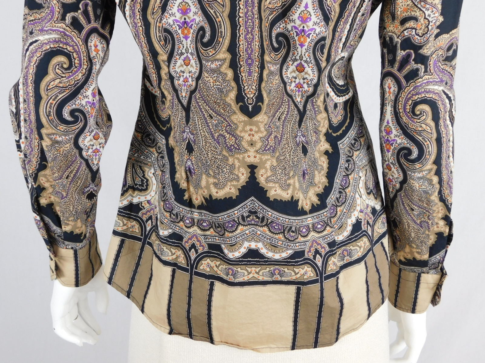 Etro Cotton Paisley Multicolor Button Down Blouse, Size 42/ US 6