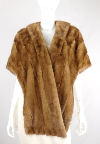 Mink Brown and Tan Vintage 60's Shoulder Wrap - M