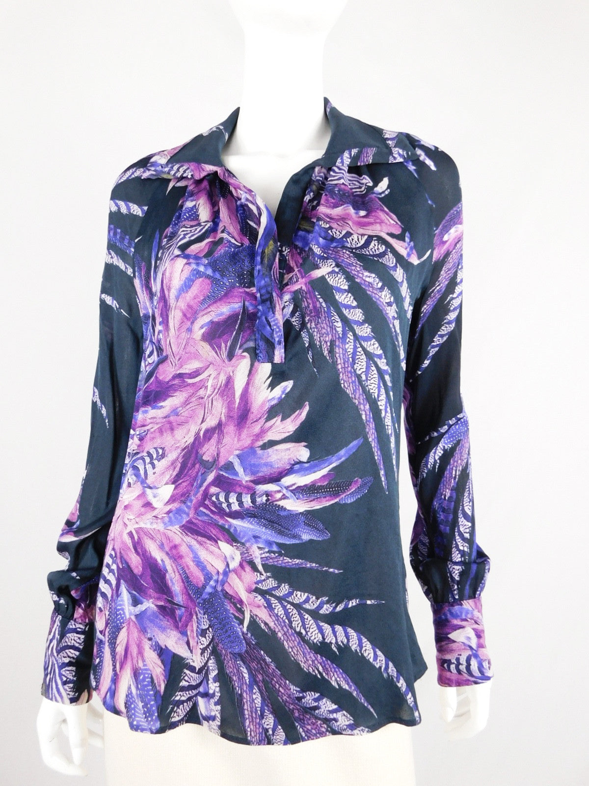 Just Cavalli Purple Silk Floral Print Sheer Blouse, Size 44/ US 8
