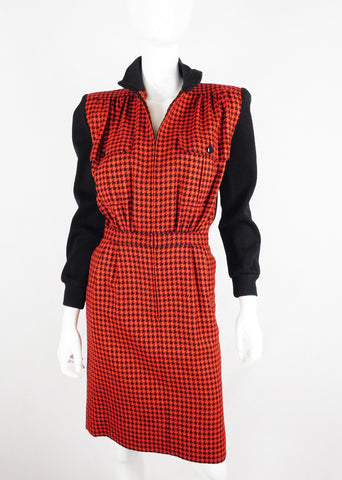 Valentino Miss V Vintage Houndstooth Wool Dress - Size 40