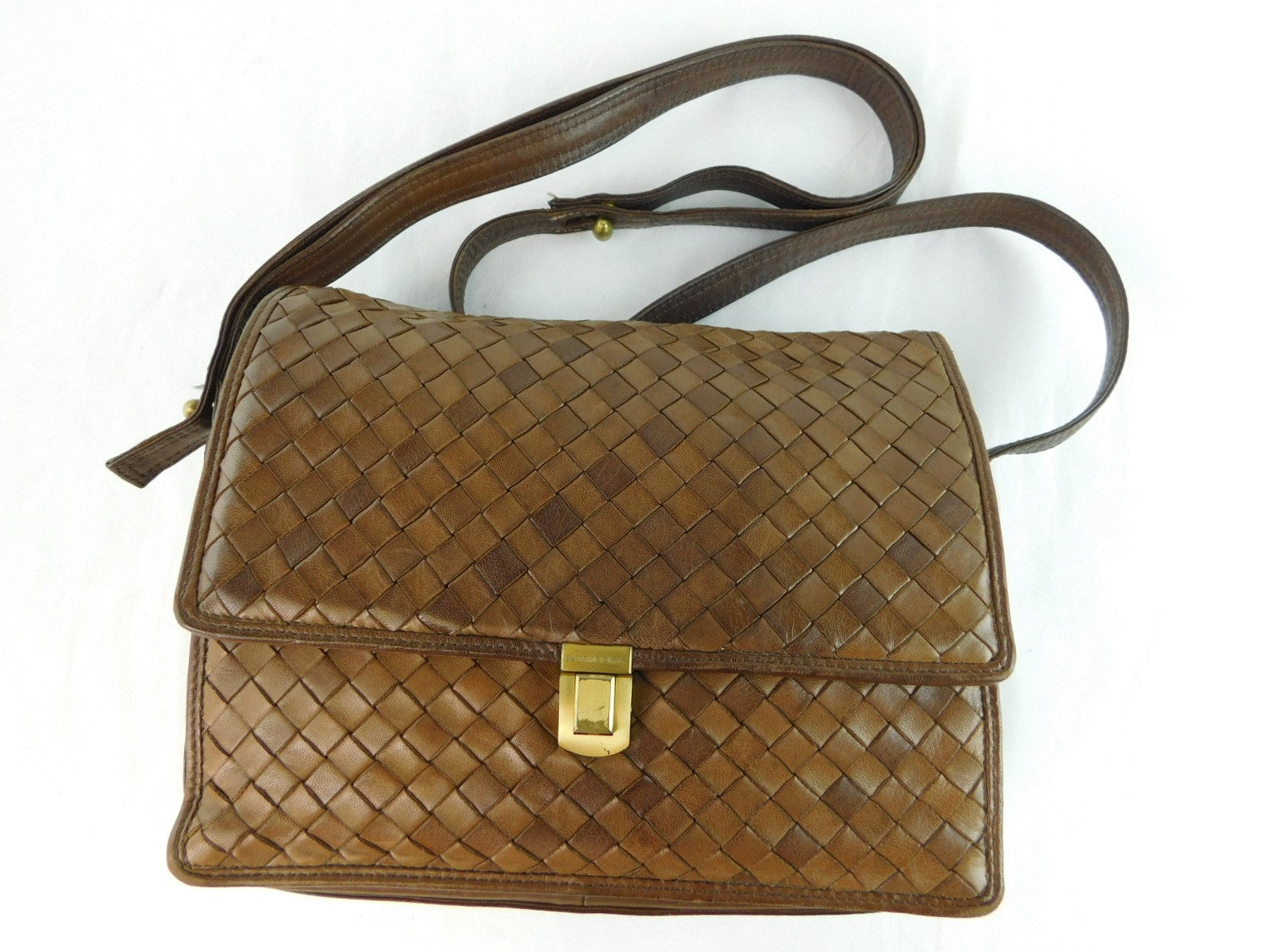 Bottega Veneta Woven Leather Brown Shoulder Bag