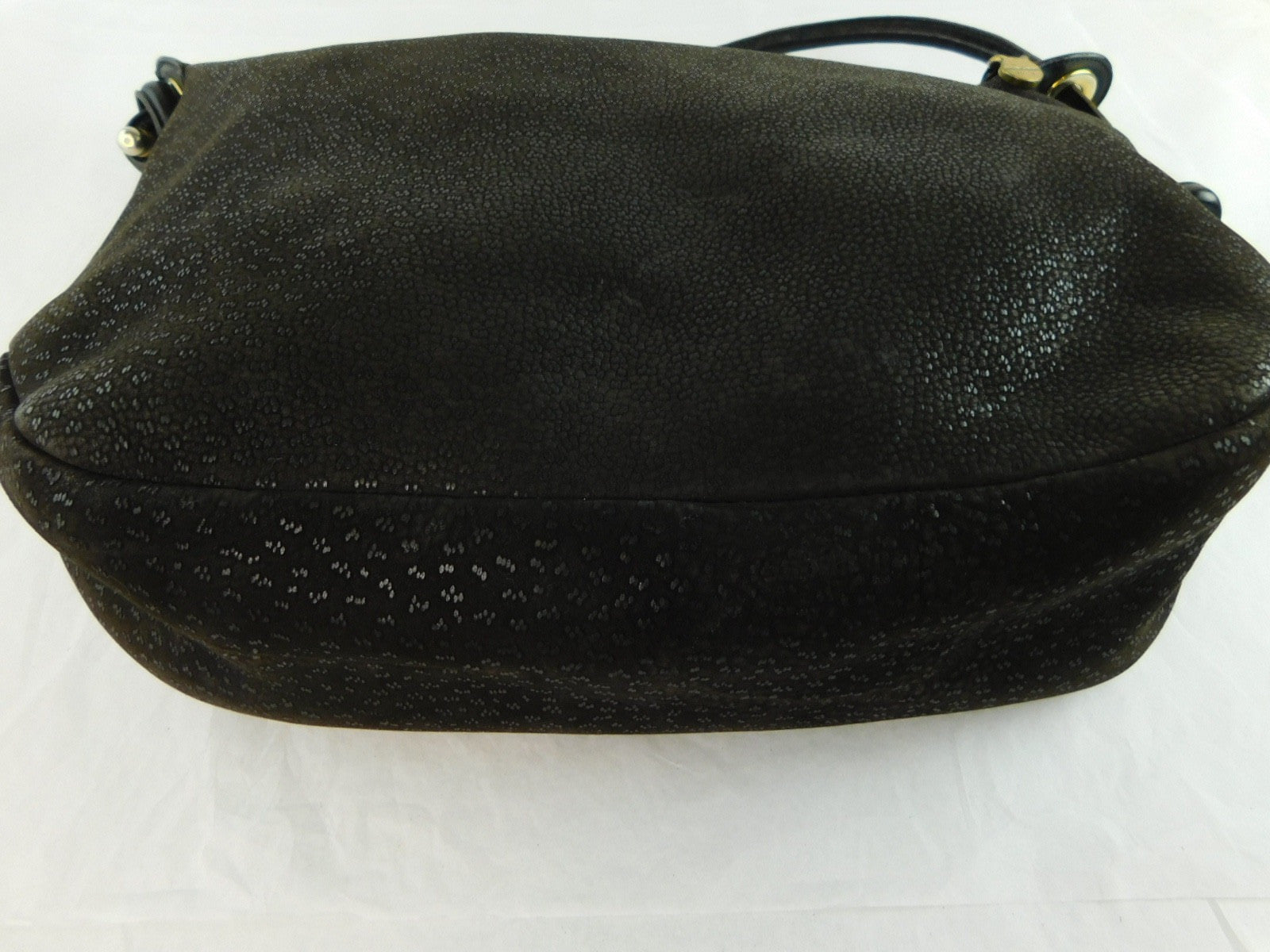 Furla Vintage Large Black Textured Leather Shoulder Handbag