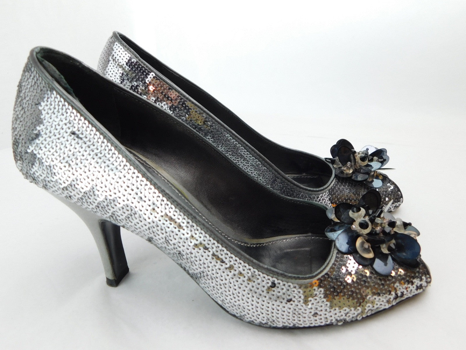 Prada Silver Sequin Peep Toe Pumps, Size 35.5/US 5.5