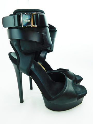 Gucci Black Harness Buckle Platform Heels, Size 36.5/US 6