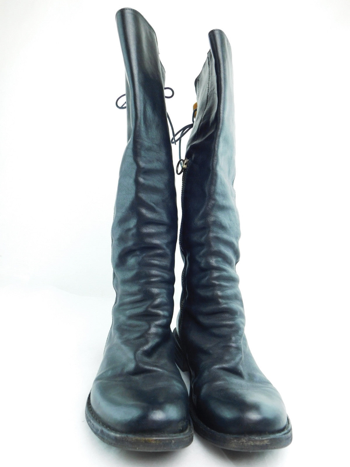 Fiorentini + Baker Black Leather Lace Up Knee High Boots, Size 38/US 7.5