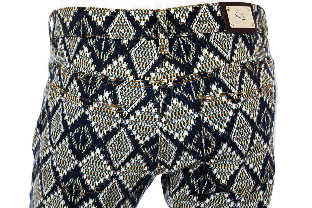 Etro Denim Diamond Print Black Green Skinny Jeans, Size 27