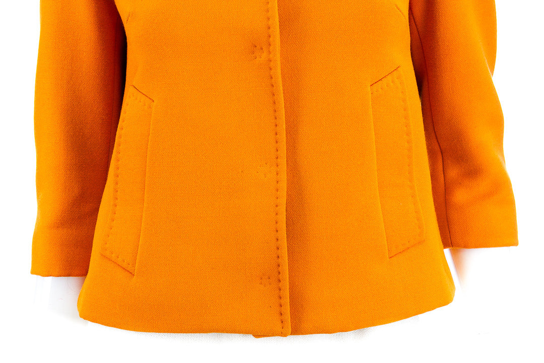 Dolce & Gabbana Wool Orange Cropped Pocket Collar Coat