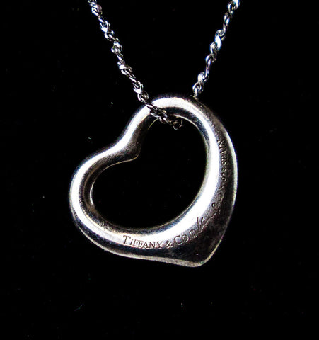 Tiffany & Co Sterling Silver Elsa Peretti Heart Pendant Necklace