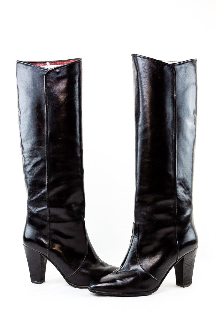 YSL Saint Laurent Vintage Black Calf Boots - Size 6.5B