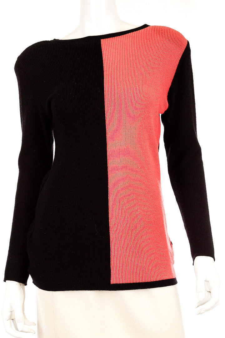YSL Rive Gauche Vintage Wool Colorblock Sweater, Size 36/US 4