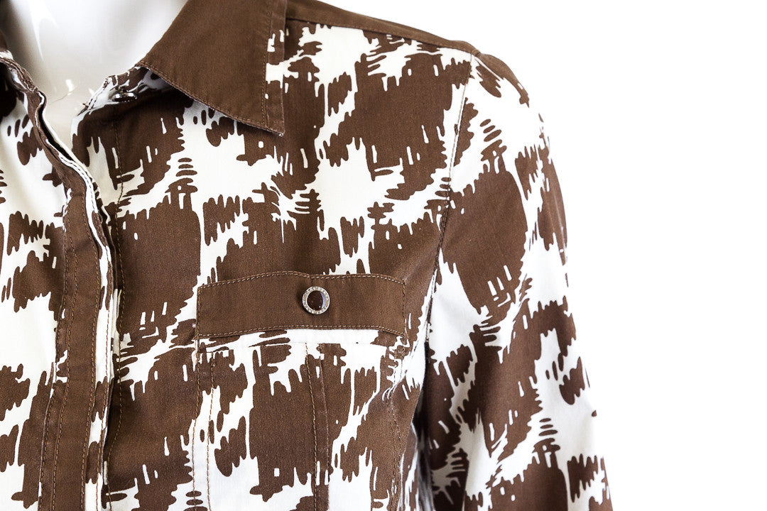 Tory Burch Abstract Brown and White Print Shirt - Size 6