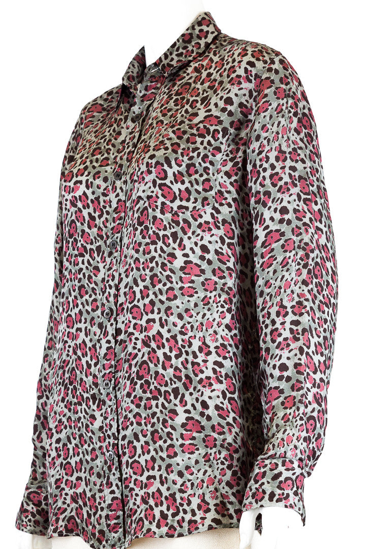 Dries Van Noten Silky Grey Leopard Blouse - Size 48
