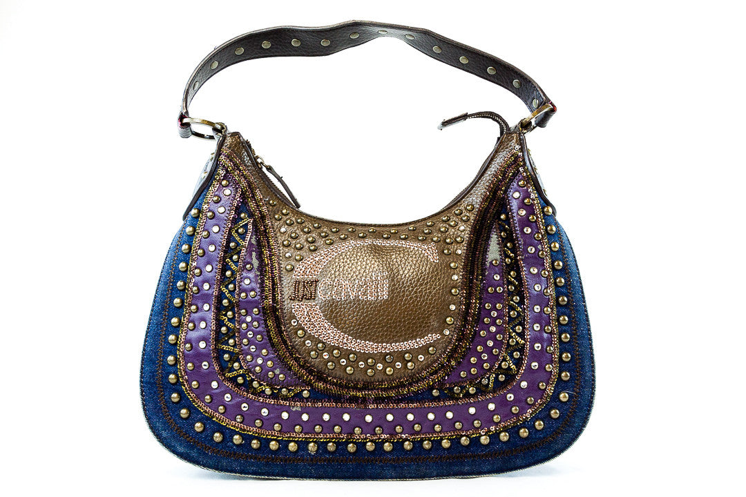 Just Cavalli  Leather Denim Sequin Shoulder Bag