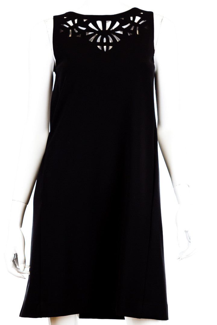 Etro Knit Laser Cut Black Sleeveless Shift Dress, Size 42/ US 6
