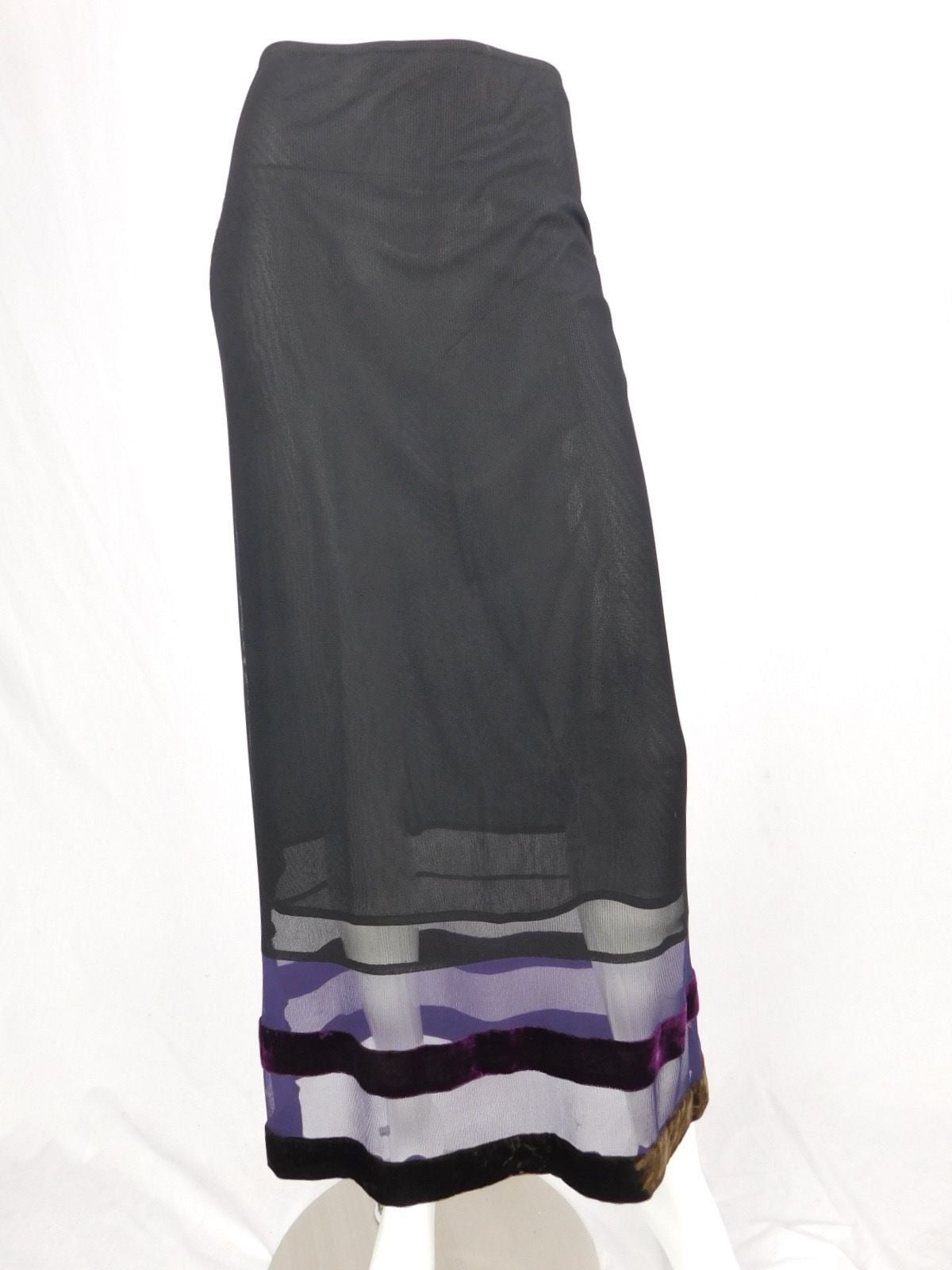 Philosophy di Alberta Ferretti Black Vintage Nylon Long Skirt - Size 6