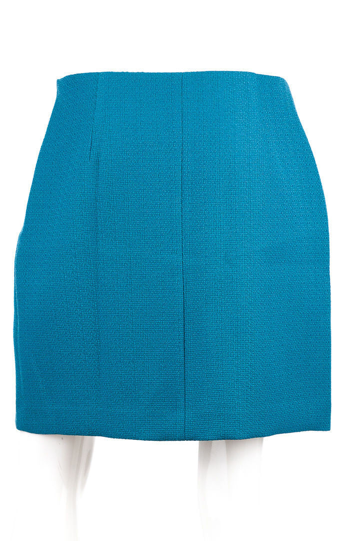 Tahari Elana Teal Blue Woven Knit Skirt, Size 12-NWT
