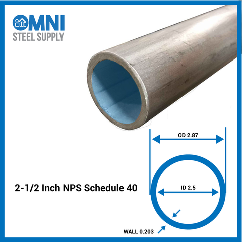 Steel Pipe 2-1/2  Sch 40 ( 2.87 OD x 2.5 ID)  sc 1 st  OmniSteelSupply & Steel Pipe 2-1/2