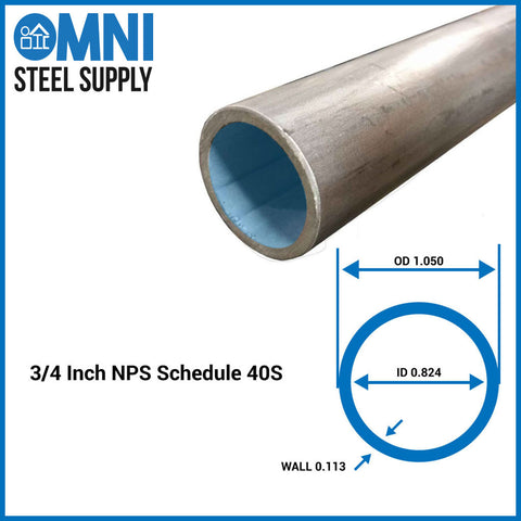"Steel Pipe 3/4"" ( 1.05 OD x 0.824 ID)"
