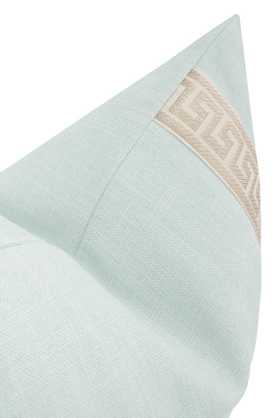 Signature Linen // Spa Blue + Greek Key Trim