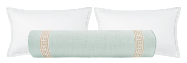 The Bolster :: Signature Linen // Spa Blue + Greek Key Trim // Cashmere BACKORDER