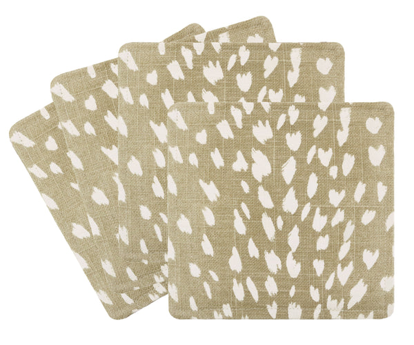 Cocktail Napkins :: Antelope Linen Print // Natural