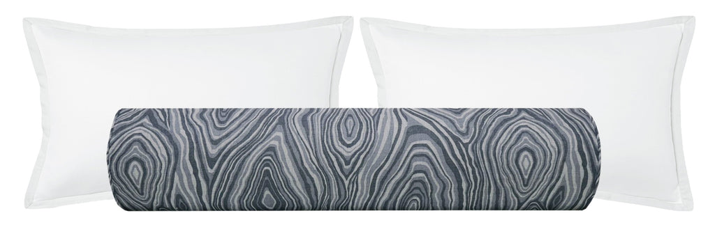 The Bolster :: Agate Linen Print // Prussian Blue