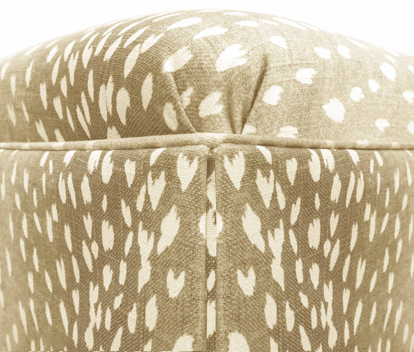 The Skirted Ottoman :: Antelope Linen Print // Natural