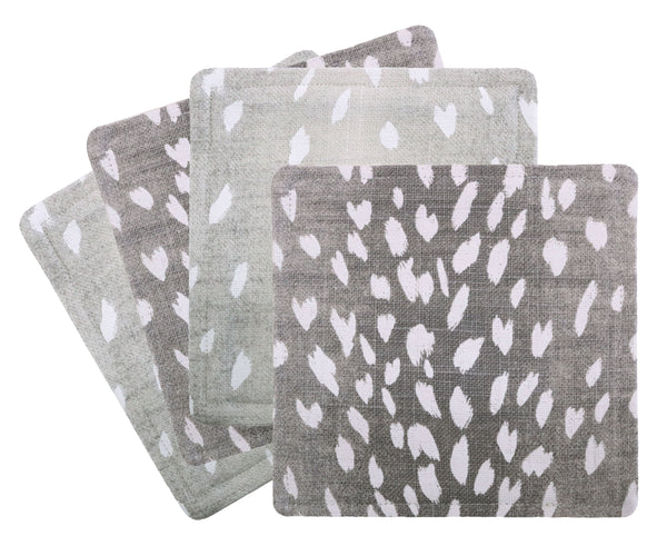 Cocktail Napkins :: Antelope Linen Print // Grey