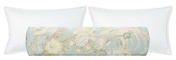 The Bolster :: Floral Aviary Print // Hydrangea Blue