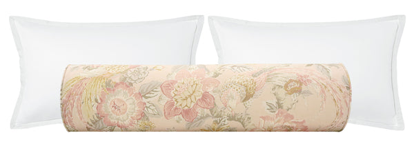 The Bolster :: Floral Aviary Print // Blush