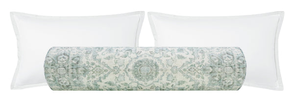 The Bolster :: Oushak Linen Print // Spa Blue