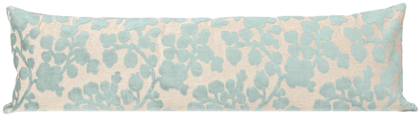 The XL Lumbar :: Blossom Cut Velvet // Spa Blue