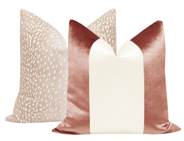 PANEL Colorblock :: Faux Silk Velvet // Rose Gold + Alabaster Silk