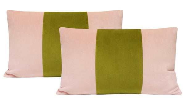 The Little Lumbar :: Classic Velvet // Blush + Chartreuse