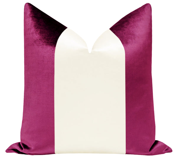 PANEL Colorblock :: Faux Silk Velvet // Magenta + Alabaster Silk