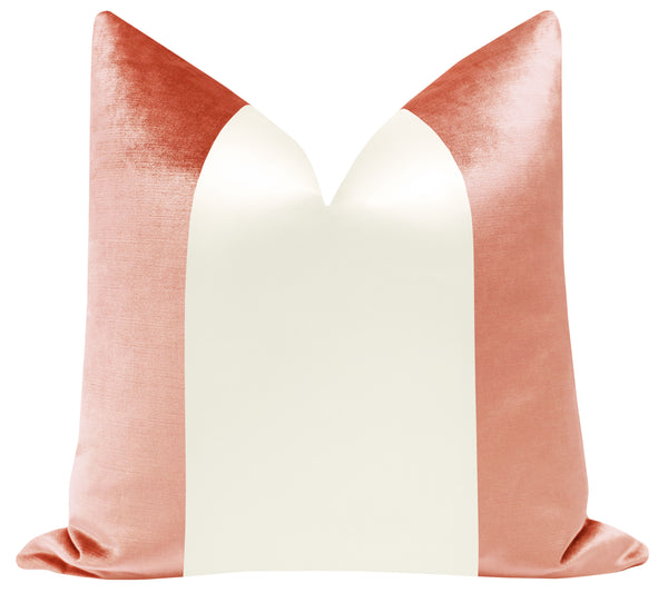 PANEL Colorblock :: Faux Silk Velvet // Coral + Alabaster Silk
