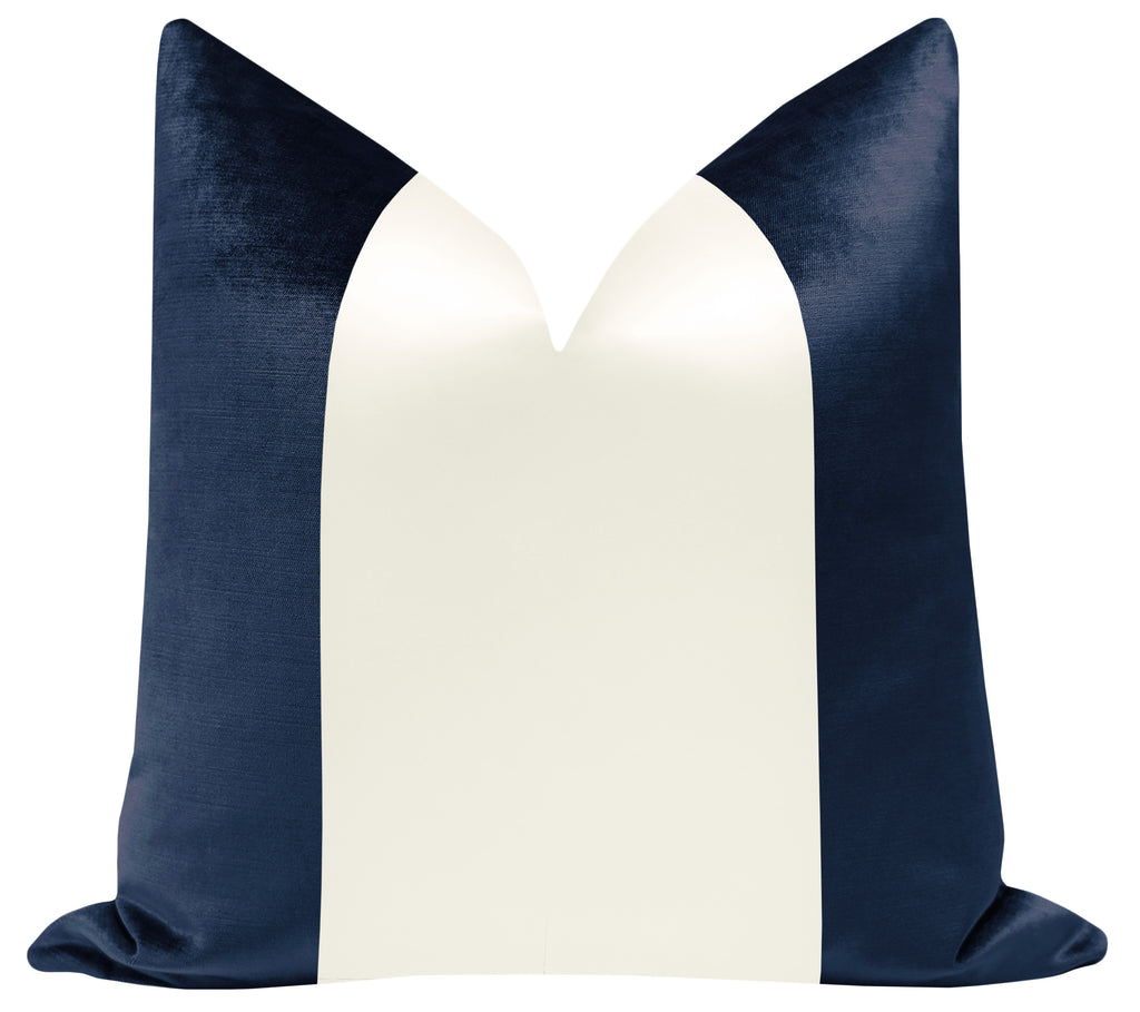 PANEL Colorblock :: Faux Silk Velvet // Navy Blue + Alabaster Silk