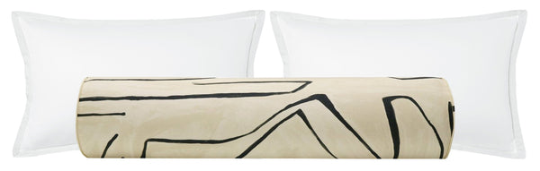 BACKORDER The Bolster :: Graffito // Linen + Onyx