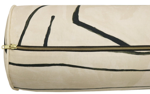 The Bolster :: Graffito // Linen + Onyx