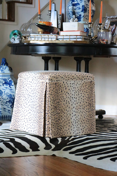 The Skirted Ottoman :: Antelope Linen Print // Ebony BACKORDER