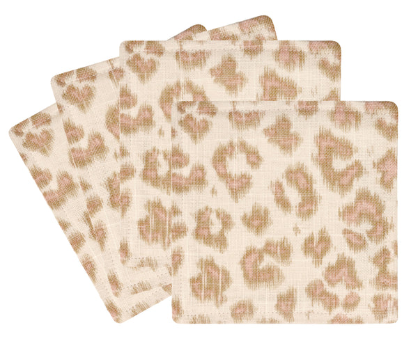 Cocktail Napkins :: Leopard Linen Print // Blush