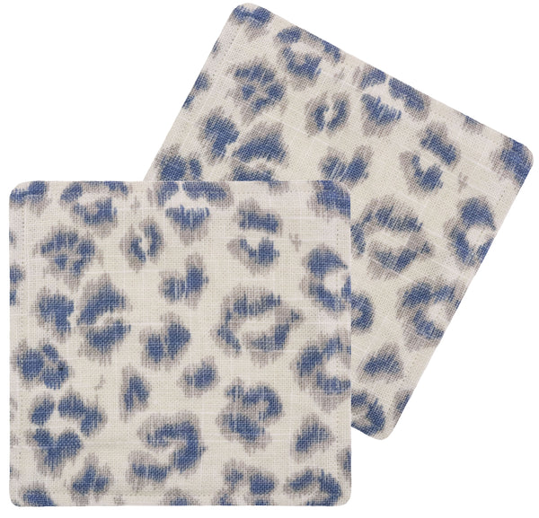 Cocktail Napkins :: Leopard Linen Print // Denim