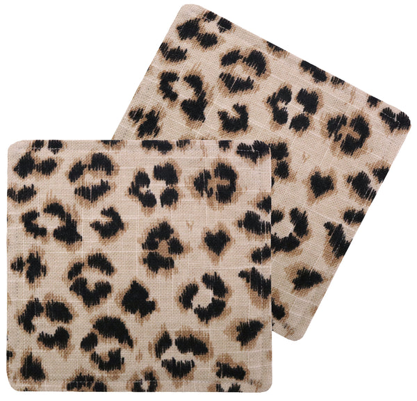 Cocktail Napkins :: Leopard Linen Print // Ebony